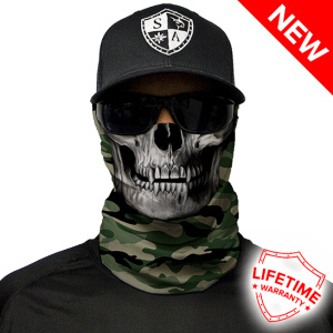 Green Military Camo Skull Face Shield - Face Mask - One Size
