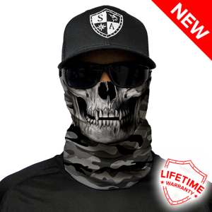 Grey Military Camo Skull Face Shield - Face Mask - One Size