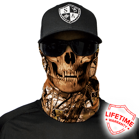 Snow Forest Camo Skull Face Shield - Face Mask - One Size