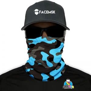 Aqua Military Camo Face Shield – Facemaskers – One Size