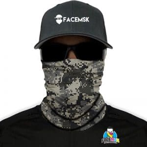 Grey Digi Camo Face Mask - Face Shield