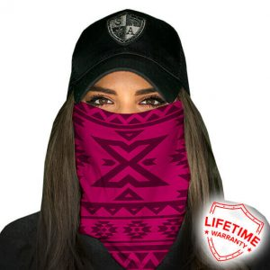 Aztec Dark Pink Face Shield - Face Mask - One Size