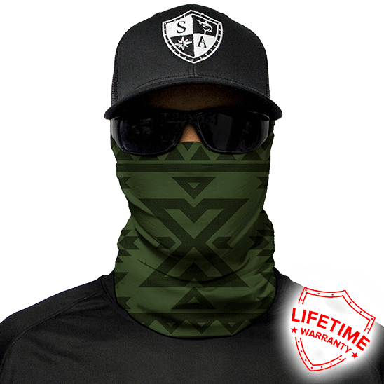Aztec Dark Olive Green Face Shield - Face Mask - One Size