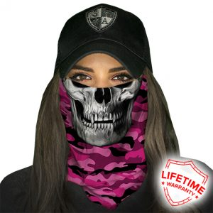 Pink Military Camo Skull Face Shield - Face Mask - One Size