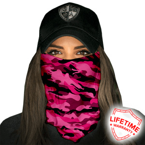 Pink Military Camo Face Shield - Face Mask - One Size