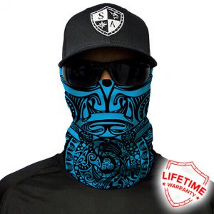 Polynesian Tribal   Blue Face Shield - Face Mask - One Size