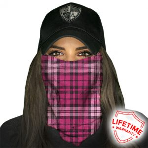 Pink Plaid Face Shield - Face Mask - One Size