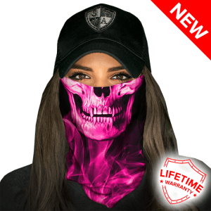 Skull Tech Pink Crow Face Shield - Face Mask - One Size