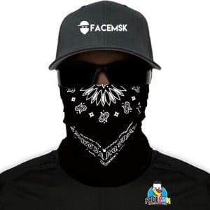 Black Bandana FaceMSK Mask - Faceshield