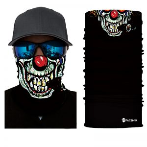 Pixelated Clown Face Shield - Face Mask