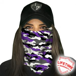 Amethyst Military Camo Face Shield - Face Mask