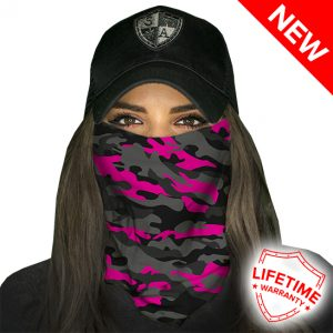 Magenta Military Blackout Camo Face Shield - Face Mask