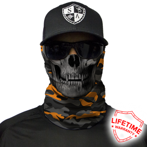 Orange & Grey Military Camo Skull Face Shield - Face Mask
