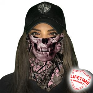 SA Pink Forest Camo Skull Face Shield - Face Mask