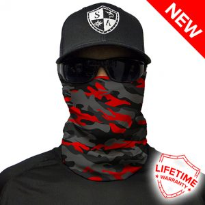 Fire Red Military Blackout Camo Face Shield - Face Mask