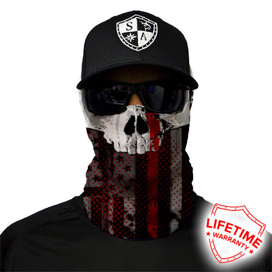 Thin Red Line Skull Face Shield - Face Mask