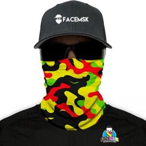 Rasta Military Camo Face Mask - Face Shield