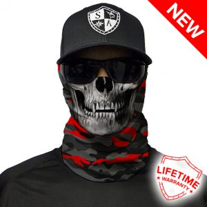 Fire Red Military Blackout Camo   Skull Face Shield - Face Mask