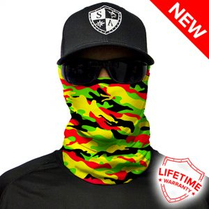 Rasta Military Camo Face Shield - Face Mask