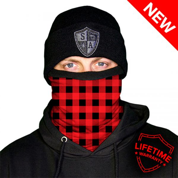 Frost Tech | Lumberjack | Red Plaid Fleece Face Shield