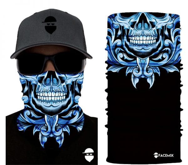 Blue Floral Skull Face Mask - Face Shield