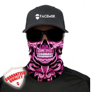 Pink Floral Skull Face Mask - Face Shield