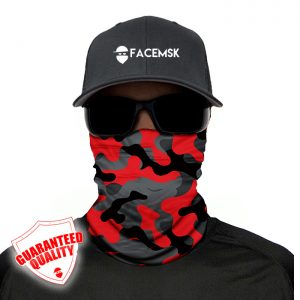 Fire Red Military Camo Face Mask - Face Shield