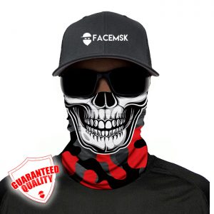 Fire Red Military Camo Skull Face Mask - Face Shield