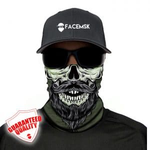 Green Bearded Skull Face Mask - Face Shield