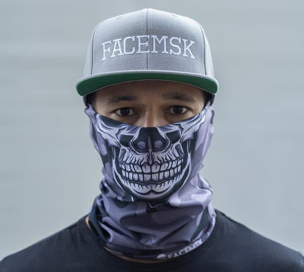 Grey Military Master Skull Camo Face Mask - Face Shield