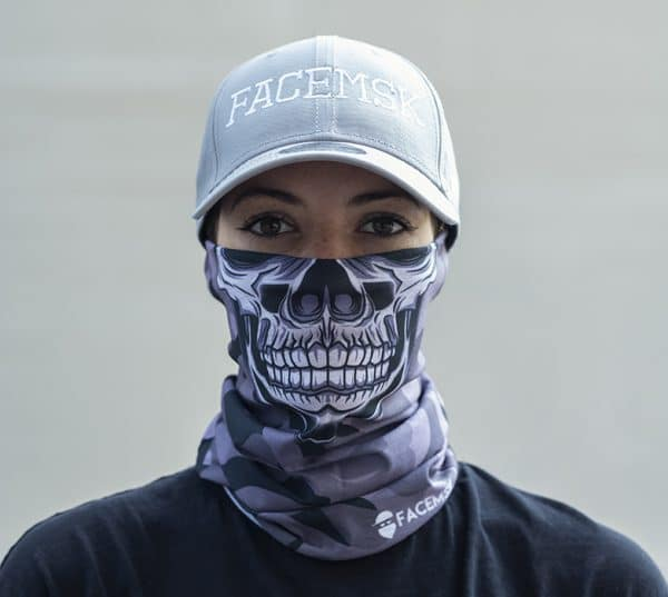 Grey Military Master Skull Camo Face Mask - Motor Mask