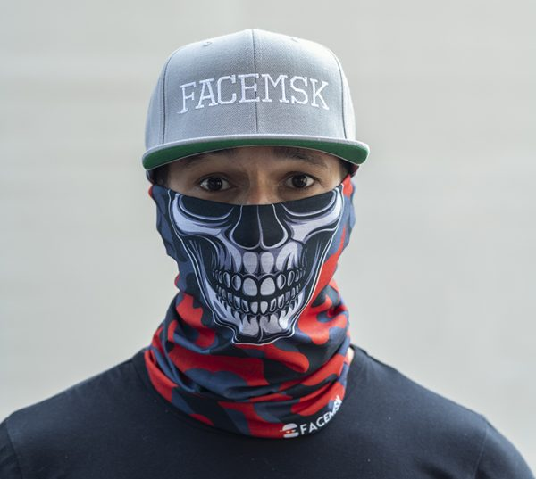 Fired Red Military Camo Skull Face Mask - Face Shield