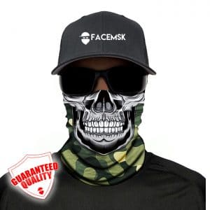 Green Military Camo Master Skull Face Mask - Face Shield