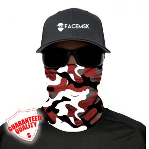 Crimson Military Camo Face Mask - Face Shield