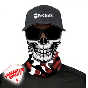 Crimson Military Camo Skull Face Mask - Face Shield