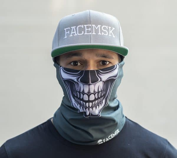 Motor Mask - Green Skull Faceshield