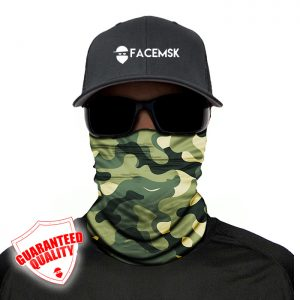 Green Military Camo Face Mask - Face Shield