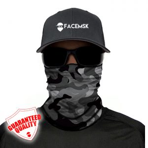 Grey Military Camo Face Mask - Face Shield
