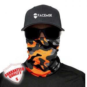 Orange & Grey Military Camo Face Mask - Face Shield