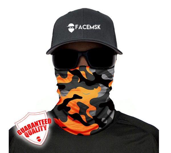 Orange & Grey Military Camo Face Mask - Face Shield