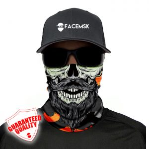 Orange & Grey Military Bearded Skull Face Mask - Face Shield