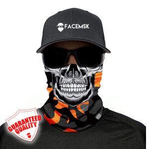 Orange & Grey Military Master Skull Face Masks - Face Shield