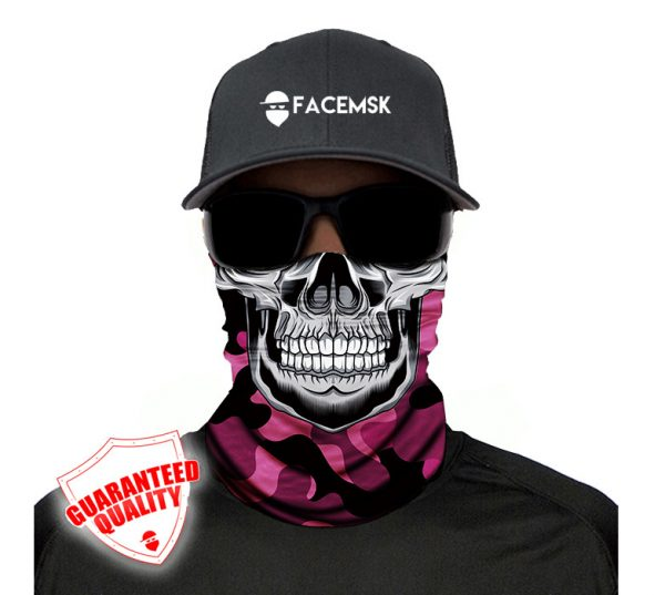 Pink Military Master Skull Face Mask - Face Shield