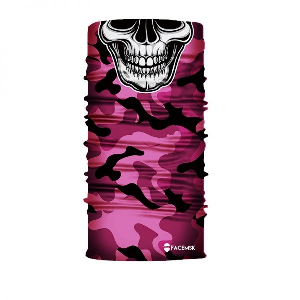 Pink Military Camo Skull Face Mask - Face Shield